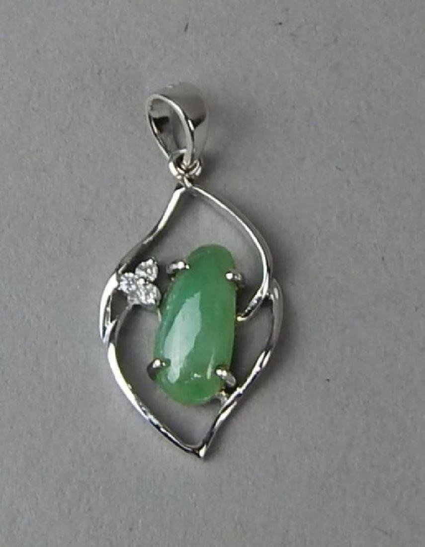 Green Jade and Diamond Ring and Pendant - 7
