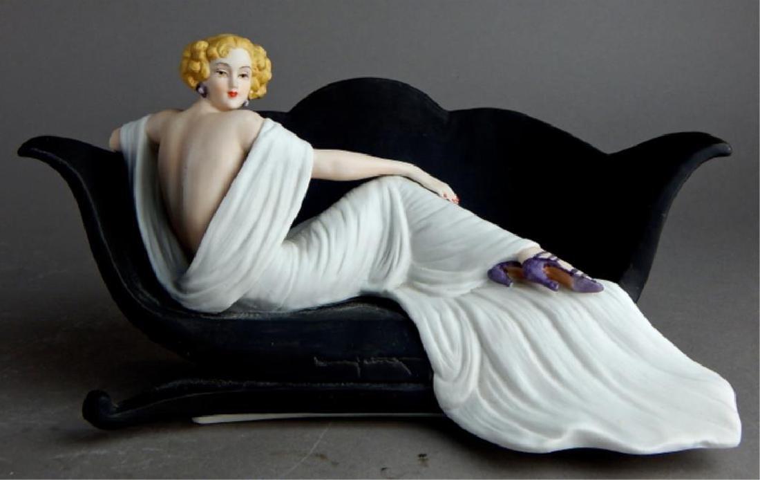 Art Deco Style Icart Lady on Sofa Figurine