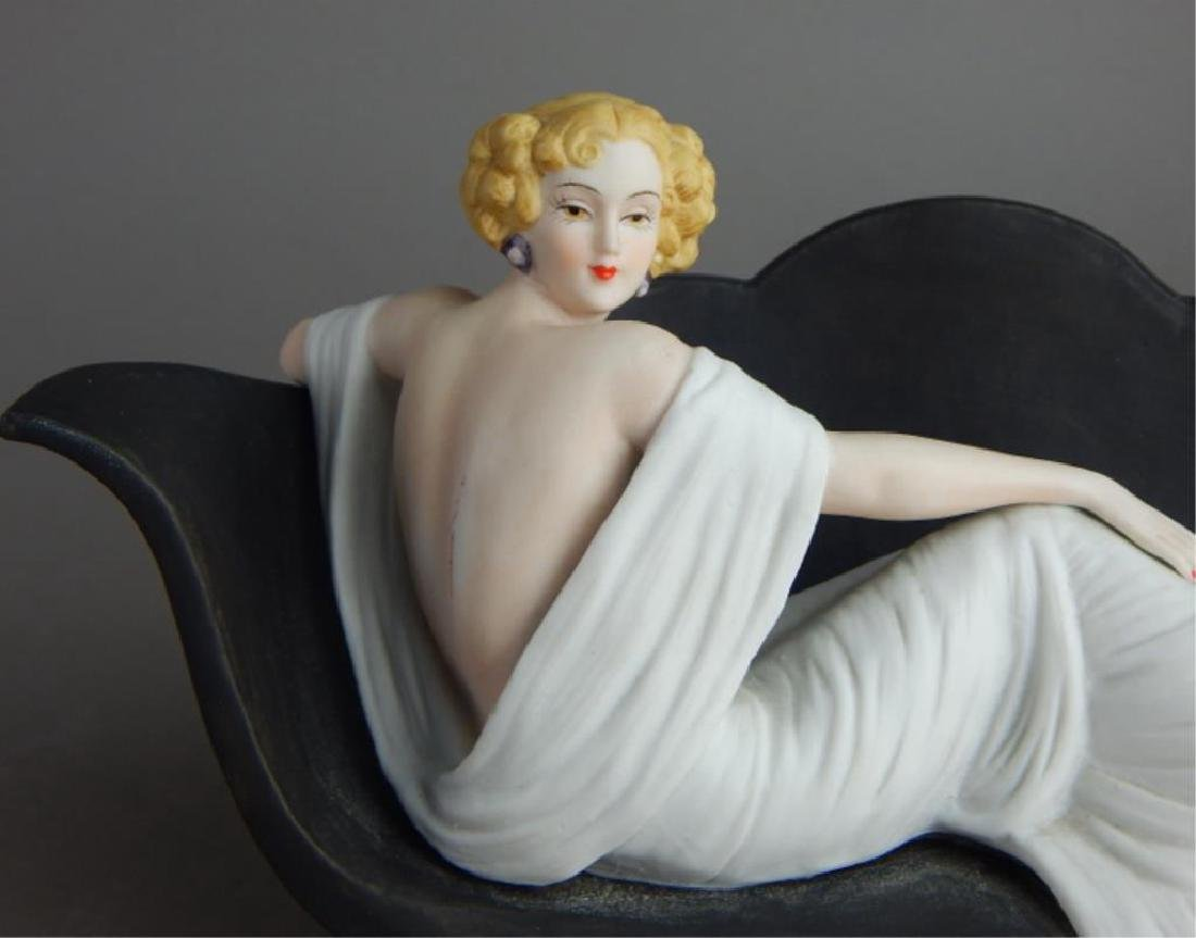 Art Deco Style Icart Lady on Sofa Figurine - 3