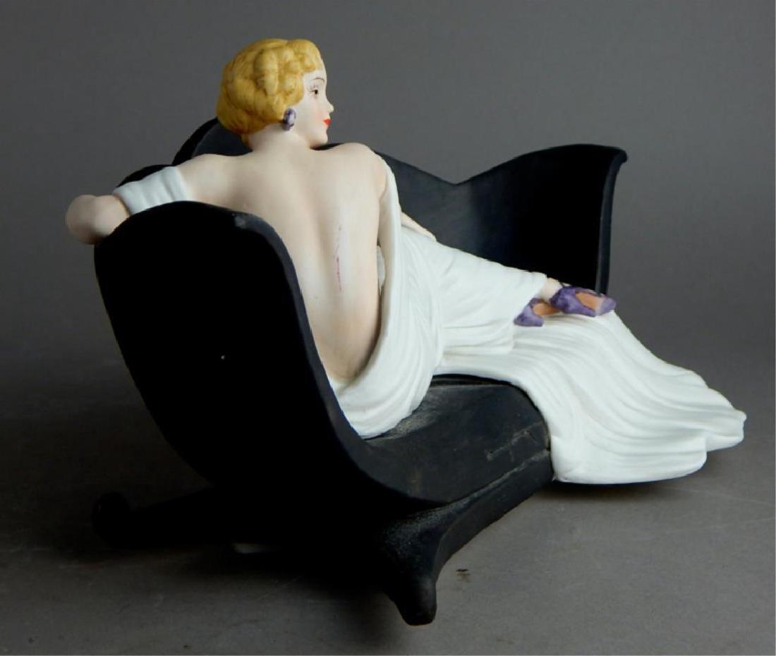 Art Deco Style Icart Lady on Sofa Figurine - 6
