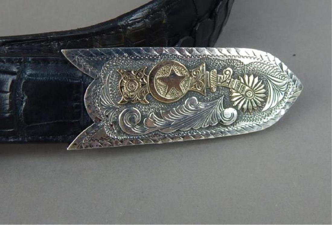 14kt Gold & Sterling 3 Pc Buckle on Alligator Belt - 4