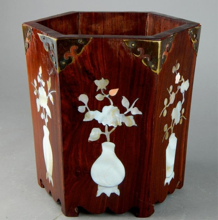 Wooden Inlaid Mother of Pearl Flower Pot