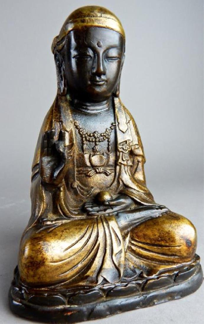 Gilt Metal Seated Goddess