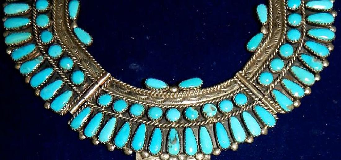 Sterling Silver and Turquoise Squash Blossom - 2