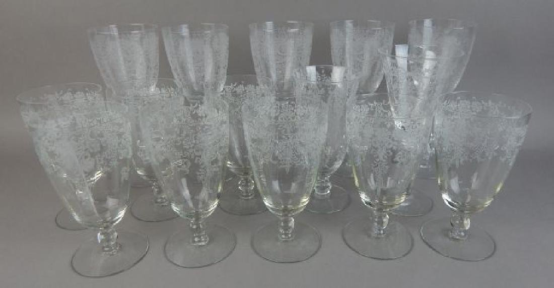 Fourteen Pieces Etched Fostoria Crystal Glasses