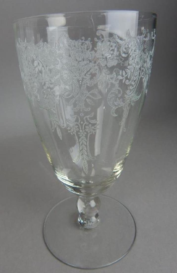 Fourteen Pieces Etched Fostoria Crystal Glasses - 2