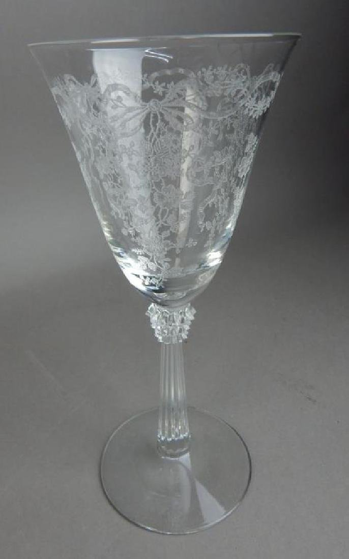 Fourteen Pieces Etched Fostoria Crystal Glasses - 3