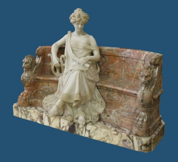 986: A5-1 MARBLE LADY ON BENCH