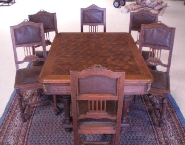 1051: C1-20 CIRCA 1920 FRENCH PARKETRY TABLE W/6 CHAIRS