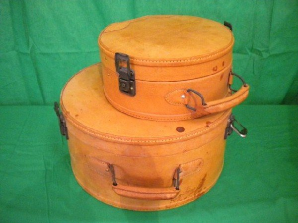 1255: A8-37 LOT OF 2 LEATHER HAT BOXES