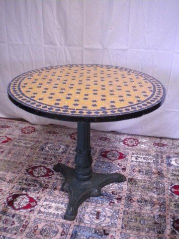 1310: A8-4 ANTIQUE MOSAIC TOP TABLE