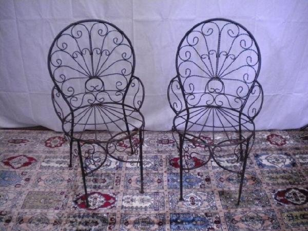 1311: A8-5 PAIR OF WROUGHT IRON CHAIRS