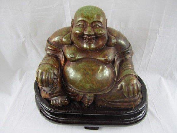 13: A29-3 SOLID JADE BUDDA ON WOOD STAND