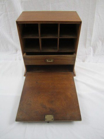 14: A20-6 SMALL ENGLISH BURLWOOD CABINET WITH KEY
