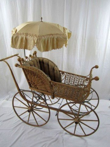 15: A32-68 VICTORIAN STYLE WICKER BABY BUGGY