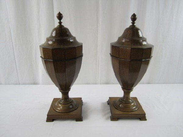 529: A32-52 PAIR OF URN-SHAPED KNIFE BOXES