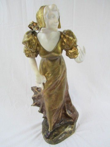 """597: A11-18 MARBLE & BRONZE STATUE SIGNED """"A. GORY"""""""