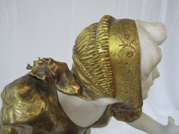 """597: A11-18 MARBLE & BRONZE STATUE SIGNED """"A. GORY"""" - 4"""