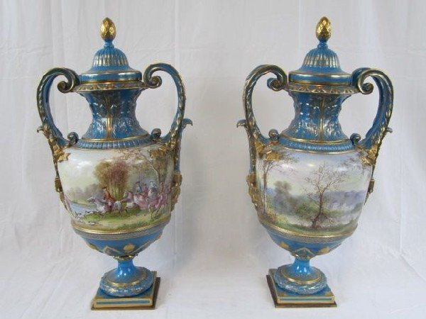 """645: A11-12 PAIR OF SEVRES URNS SIGNED """"A. MERIN"""""""