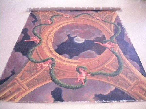 724: D13-1 HAND PAINTED CEILING MURAL SIGNED