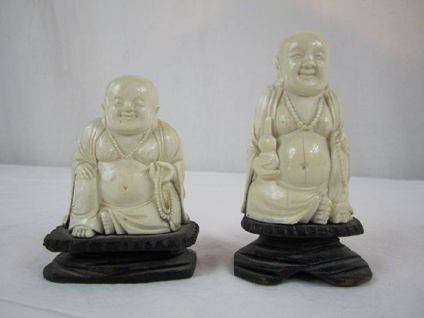 727A: A4-10 OLD CARVED IVORY HAPPY HOTEI FIGURES