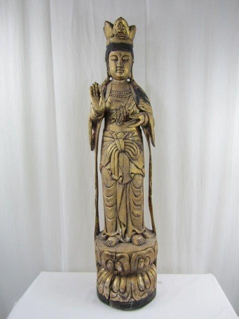 505: A8-16 VINTAGE HAND CARVED GOLD LEAF QUAN YEN