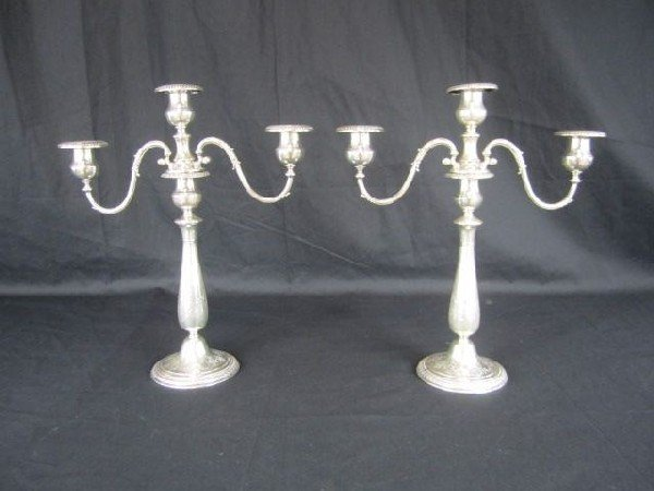 530: A17-51 PAIR OF CALDWELL STERLING CANDELABRAS