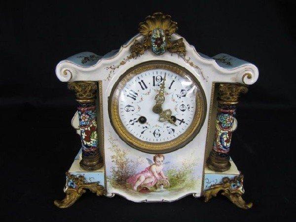 536: A17-57 CHAMPLEVE PORCELAIN CLOCK