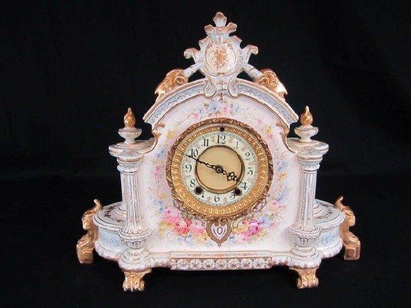 537: A17-58 ROYAL BONN PORCELAIN CLOCK