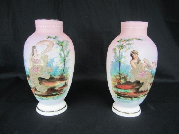 539: A17-60 PAIR OF HAND PAINTED GLASS VASES