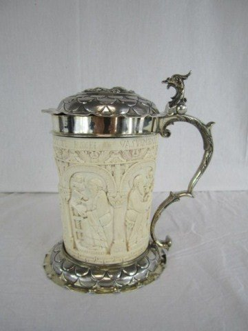 571: A18-21 STERLING & IVORY 19TH CENTURY TANKARD