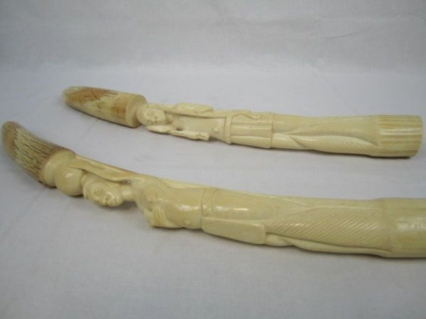 524B: C5-2 PAIR OF AFRICAN IVORY TUSKS
