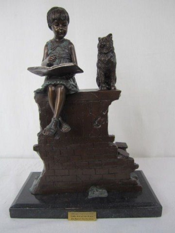 5: A10-5 GIRL WITH CAT ON WALL BRONZE