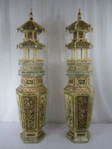 14A: A10-21 PAIR OF CARVED BONE TOWER VASES