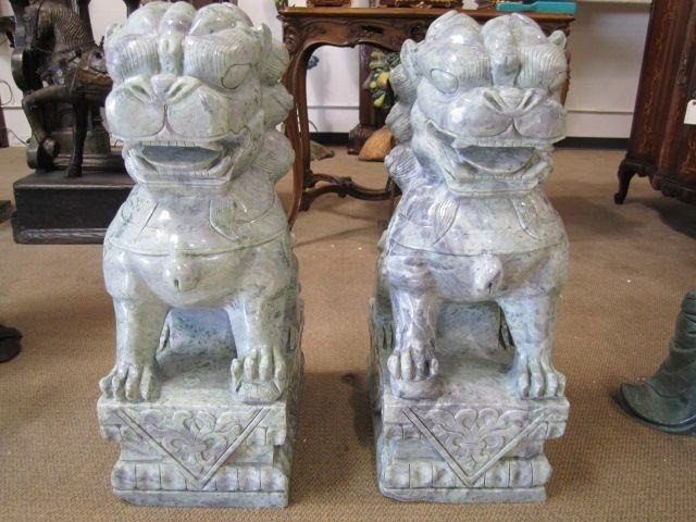 16: A10-24 PAIR OF SOLID JADE FOO DOGS