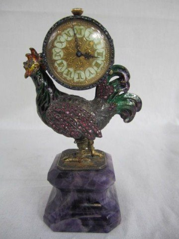 122: A18-14 AUSTRO HUNGARIAN JEWELED ROOSTER CLOCK