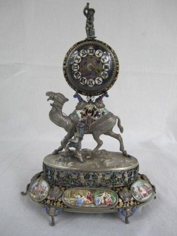 127: A18-19 AUSTRIAN STERLING ENAMELED CLOCK