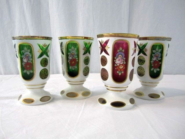 10: A14-112 SET OF 4 BOHEMIAN COLORED GOBLETS