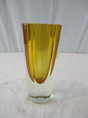 4: A14-158 MOSER STYLE AMBER VASE