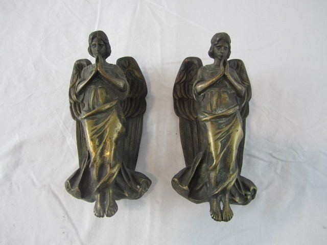 2: A14-161 PAIR OF ANTIQUE BRONZE ANGELS