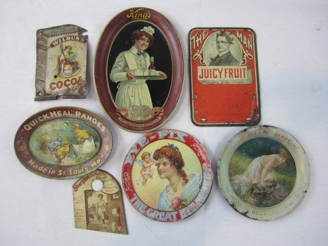 17: A45-9 COLLECTION OF 7 TIN ADVERTISING TRAYS