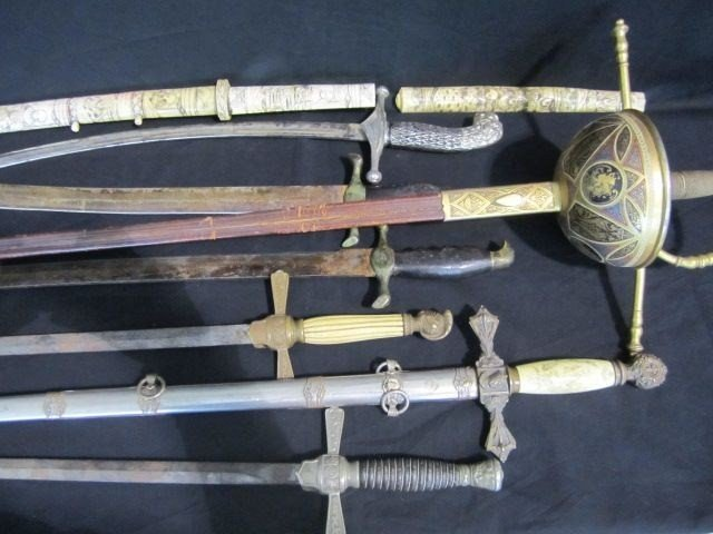 9: A45-20 COLLECTION OF 9 SWORDS & KNIVES