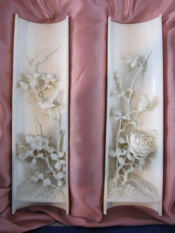 175: A41-1 PAIR OF IVORY CARVED WRIST RESTS