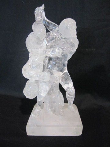 128A: A45-8 ROCK CRYSTAL NUDE MALE WRESTLERS SIGNED