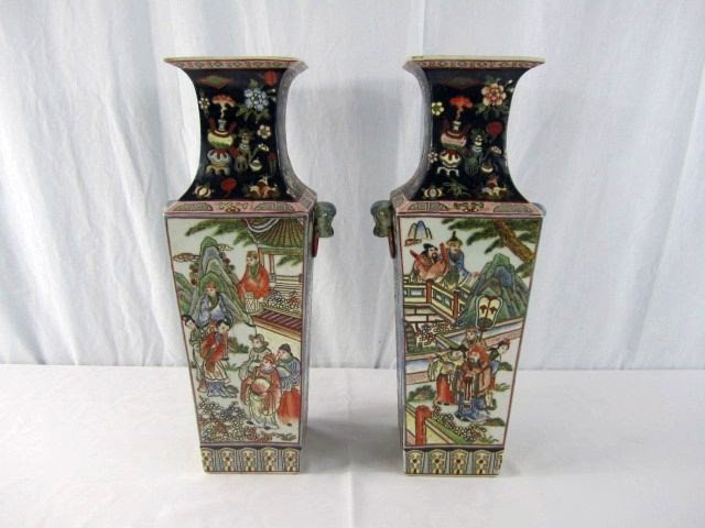 507: C51-1 PAIR OF CHINESE PORCELAIN VASES