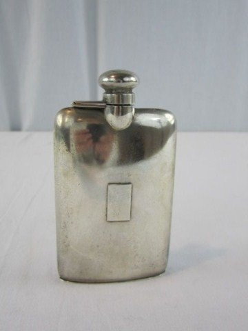 528A: A3-27 ANTIQUE STERLING POCKET FLASK