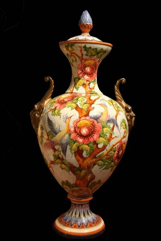 22: (M958) LARGE PERSIAN STYLE HAND PAINTED VASE