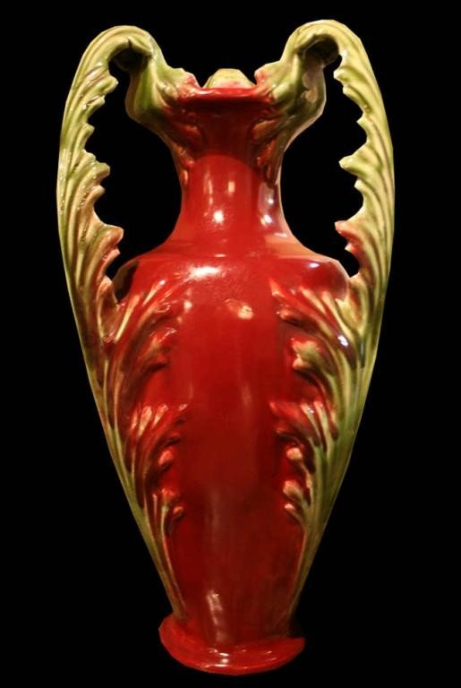 508: (M672) MAJOLICA ART NOUVEAU 3 HANDLE FRENCH VASE