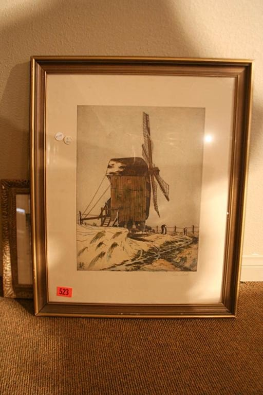 523: (NV1057) HAND COLORED ETCHING OF WINDMILL