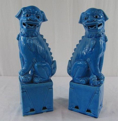 14: A1-24 PAIR OF BLUE FOO DOGS